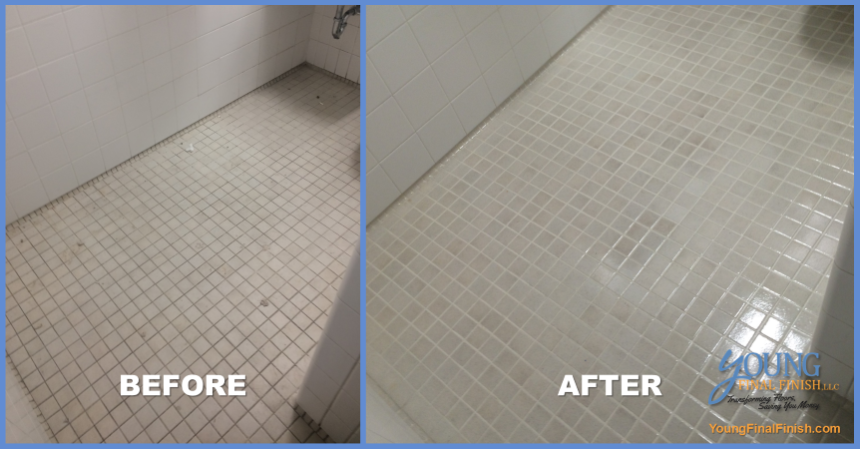 butler library ceramic tile cleaning - before after