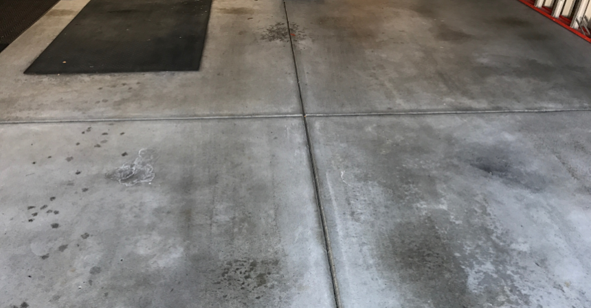 Garage floor charcoal stain and concrete coating young for How to clean concrete floors before staining