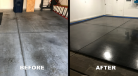 Garage Floor Charcoal Stain and Concrete Coating